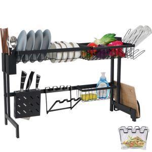 Support d'évier en acier inox étagère de rangement noire pour cuisine