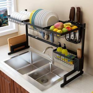 Support d'évier en acier inox étagère de rangement de cuisine rétractable, 2 tailles