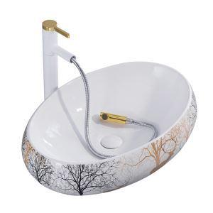 Mini lavabo en céramique blanc impression cartoon pour salle de bains, sans/avec robinet
