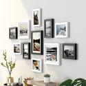 Cadre photo combiné en bois massif décoration murale, 5 modèles