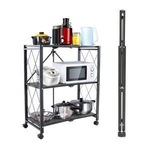 Étagère de cuisine noire pliable en acier inox sans installation H86cm