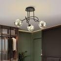 Lustre noir LED en fer verre à 3/5/8 lampes pour salon chambre salle à manger