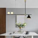 Suspension LED en métal verre à 3/9 lampes pour salon salle à manger, noir/or