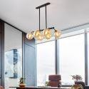 Suspension délicate en métal verre à 6/8 lampes pour salon salle à manger