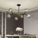 Lustre contemporain en métal abat-jour en verre pour salon restaurant cuisine