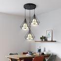Suspension noire en fer abat-jour en tissu à 3 lampes pour salon salle à manger