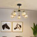 Lustre LED en fer verre suspension à 5/6/8 lumières pour salon chambre à coucher