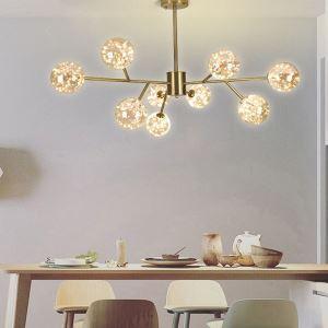 Lustre LED en métal verre à la mode pour salon chambre à coucher