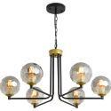 Suspension moderne en fer verre à 6/8/10 lampes pour salon chambre à coucher
