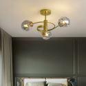 Lustre moderne en fer D57cm pour salon couloir abat-jour en verre à 2 modèle