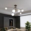 Lustre LED en fer peinture abat-jour en verre à 6/9 lampes, couleur noire/or