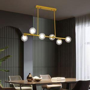 Suspension LED en métal verre pour salon salle à manger, noir/or