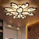 Plafonnier LED noir/blanc en métal acrylique lampe à pétale pour salon chambre hall