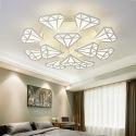 Lampe de plafond moderne à LED abat-jour en forme diamant pour salon chambre bureau