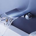 Mélangeur de baignoire cascade chromé 3 trous pour salle de bains
