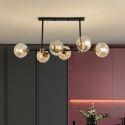Suspension en fer abat-jour en verre à 6 lampes pour salle à manger
