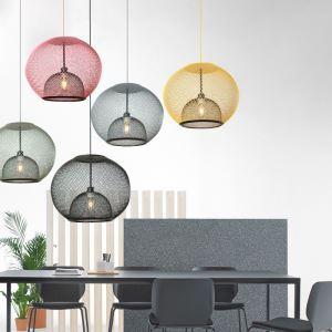Suspension en fer forgé rétro à 1 lumière pour salle à manger, 5 couleurs disponibles