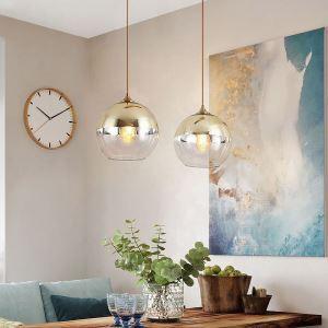 Suspension moderne boule en verre à 4 modèles 2 couleurs pour salon cuisine boutique