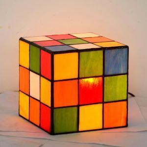 Lampe de table carrée D15cm en verre coloré pour salon chambre à coucher