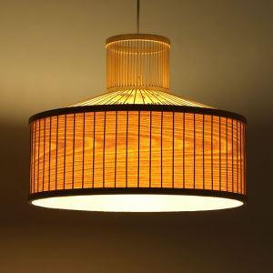 Suspension en bambou 1 lumière E27 pour salon cuisine salle à manger