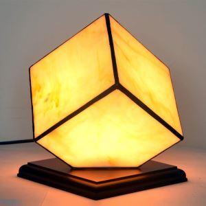 Lampe à poser moderne en bois verre sans ampoule pour salon chambre à coucher