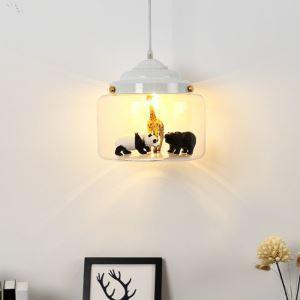 Suspension en fer verre 1 lumière décor animaux pour salon salle à manger