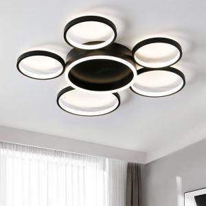 Plafonnier LED annulaire à 6 lumières en aluminium acrylique pour salon chambre bureau