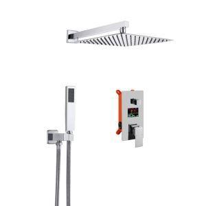 Colonne de douche LED encastrée à double fonction pour salle de bains, 3 couleurs