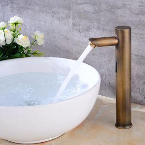 Robinet de lavabo en cuivre rétro infra-rouge capteur eau froide unique H32cm