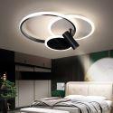 Plafonnier LED en acrylique aluminium 3 anneaux 1 projecteur pour salon couloir chambre, S/M/L