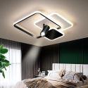 Plafonnier LED en acrylique aluminium 3 carrés 1 projecteur à 3 tailles
