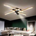 Lampe de plafond LED noire or avec 1 projecteur pour salon chambre, S/M