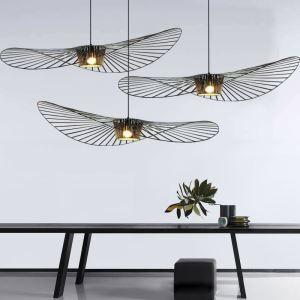 Suspension noire en métal forme maille 1 lumière sans ampoule pour café salle à manger
