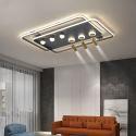 Lampe de plafond LED en acrylique avec 3 projecteurs pour salon chambre, noir/or