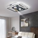 Plafonnier LED moderne simple avec projecteur pour salon chambre à coucher, noir/or