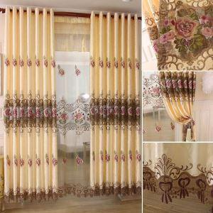 Rideau tamisant fleur broderie en polyester à 2 modèles pour salon chambre balcon