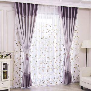 Rideau occultant en polyester plante ciselant pour salon chambre à coucher, 3 modèles