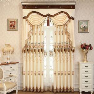 Rideau tamisant brodé fleur en polyester sans tête de rideau pour salon chambre, 3 modèles