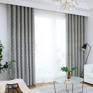 Rideau tamisant en chenille jacquard carreau pour salon chambre à coucher, 3 couleurs
