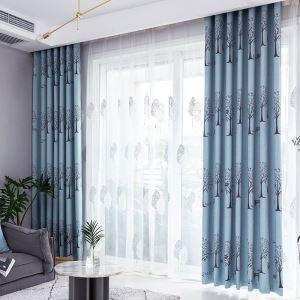 Rideau occultant en polyester arbre jacquard pour salon chambre à coucher, 4 couleurs au choix