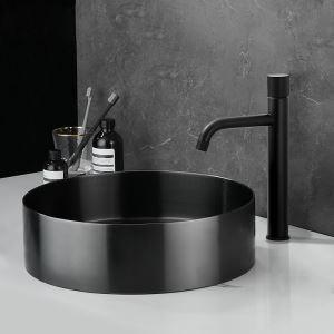 Bassin noir en acier inoxydable 304 rond D40cm pour salle de bains, robinet optionnel