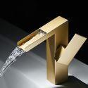 Mitigeur de lavabo or en cuivre H19cm à poignée simple pour salle de bains
