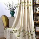 Rideau tamisant en coton lin broderie feuille verte pour salon chambre à coucher vendu à l'unité