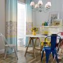 Rideau tamisant en polycoton ville imprimé style moderne pour salon chambre vendu à l'unité