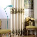 Rideau tamisant en coton lin broderie fleur verte pour salon chambre vendu à l'unité