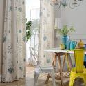 Rideau occultant en polyester coton plante imprimé pour salon chambre vendu à l'unité