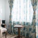 Rideau occultant en polyester coton impression arbre pour salon chambre vendu à l'unité
