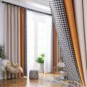 Rideau occultant en lin couleur composée pour salon chambre à coucher, 5 modèles