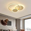Plafonnier LED rond 3 anneaux en cuivre acrylique pour salon chambre bureau, 2 tailles