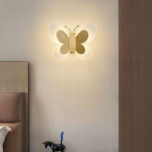 Applique murale LED en cuivre abat-jour en acrylique papillon 24W 1920 Lumen pour salon chambre